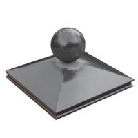 Paalmutsen met sierrand 24x24cm met een bol van 12cm