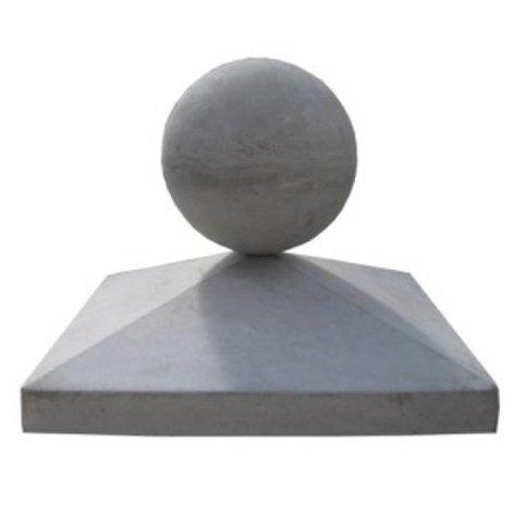 Paalmutsen 50x50 cm met een bol van 28 cm