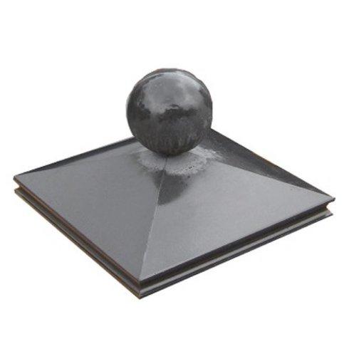 Paalmutsen met sierrand 65x65 cm met een bol van 33 cm