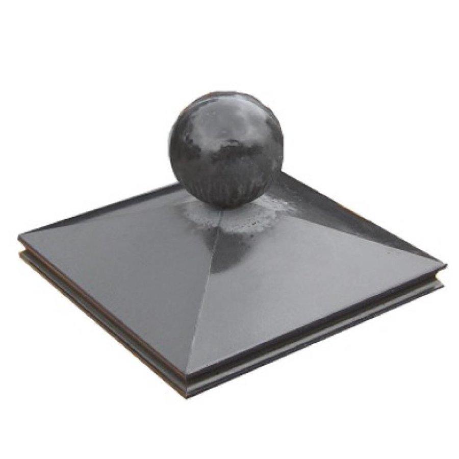 Paalmutsen met sierrand 100x100 cm met een bol van 33 cm