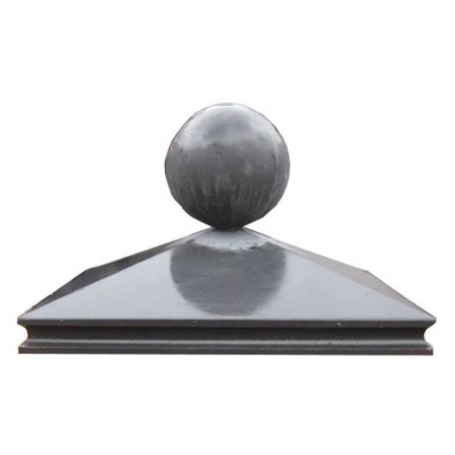 Paalmutsen met sierrand 33x33cm met een bol van 12cm