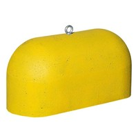 Jumboblok geel met RVS schroefhuls M16