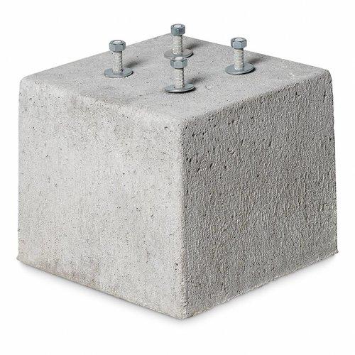 Betonpoer 30x30 en 25 cm hoog grijs M12