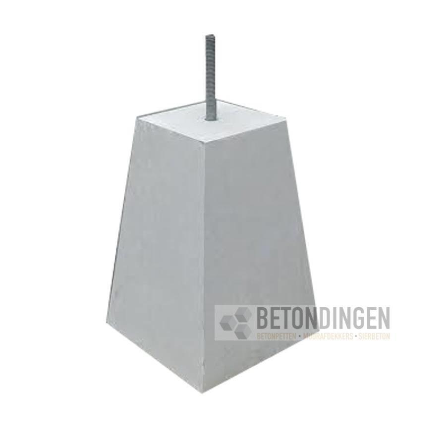 Betonpoer 18x18 en 45 cm hoog grijs M16