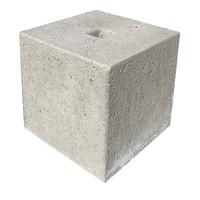Betonpoer 30x30 en 30 cm hoog grijs met gat 4 cm