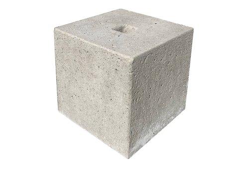 Prefab Betonpoer grijs 30x30x30 cm met gat 4 cm