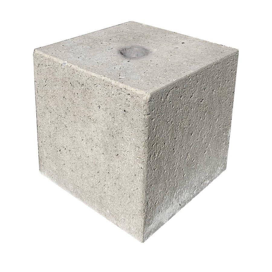 Prefab Betonpoer grijs 30x30x30 cm met gat Ø 6,5 cm