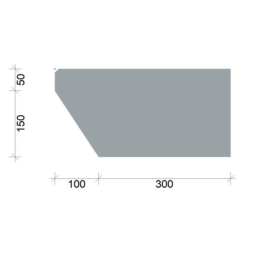 Traptreden antraciet 20x40x100 cm (glad)