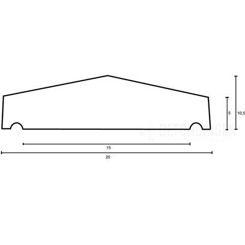 Muurafdekkers beton 2-zijdig zwart gecoat 20x100