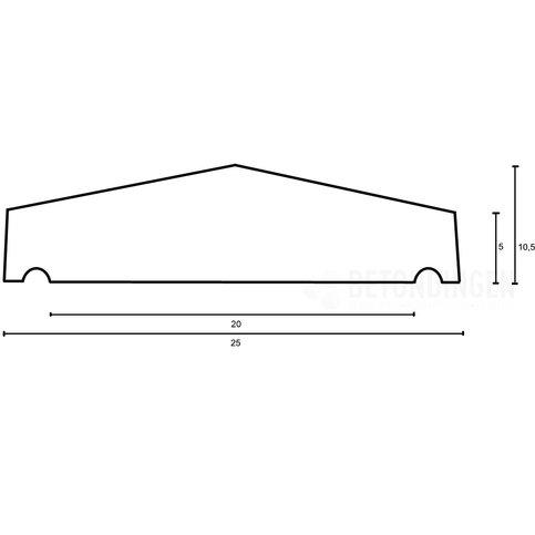 Muurafdekkers beton 2-zijdig zwart gecoat 25x100