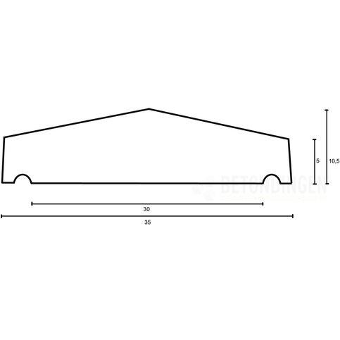 Muurafdekkers beton 2-zijdig zwart gecoat 35x100