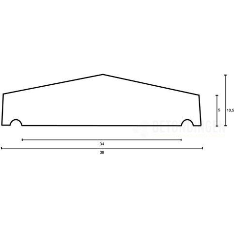 Muurafdekkers beton 2-zijdig zwart gecoat 39x100