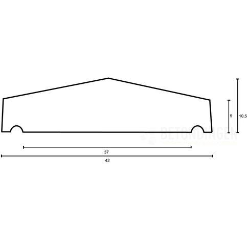 Muurafdekkers beton 2-zijdig zwart gecoat 42x100