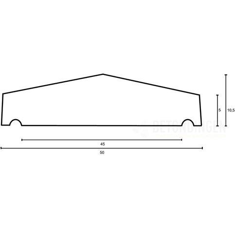 Muurafdekkers beton 2-zijdig zwart gecoat 50x100