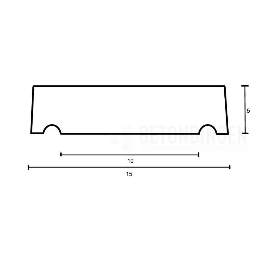 Muurafdekkers vlak, antraciet 15 x 100 cm