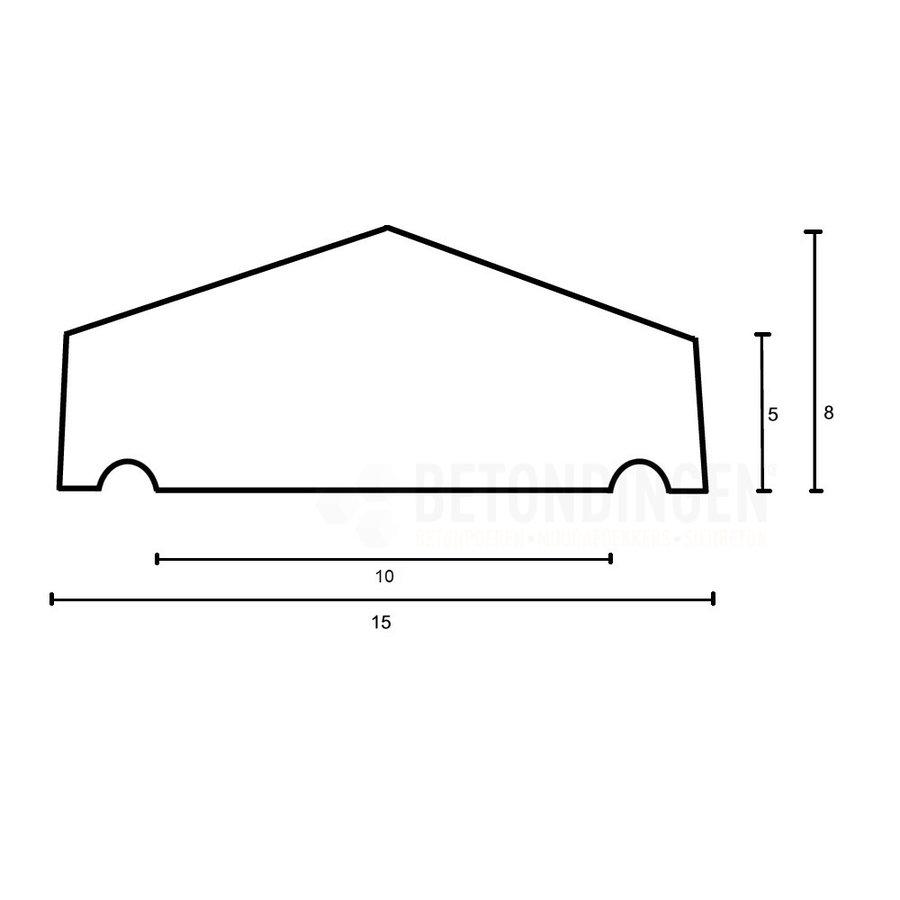 Muurafdekkers 2-zijdig, grijs 15x100 cm