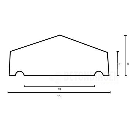 Muurafdekkers beton 2-zijdig zwart gecoat 15x100