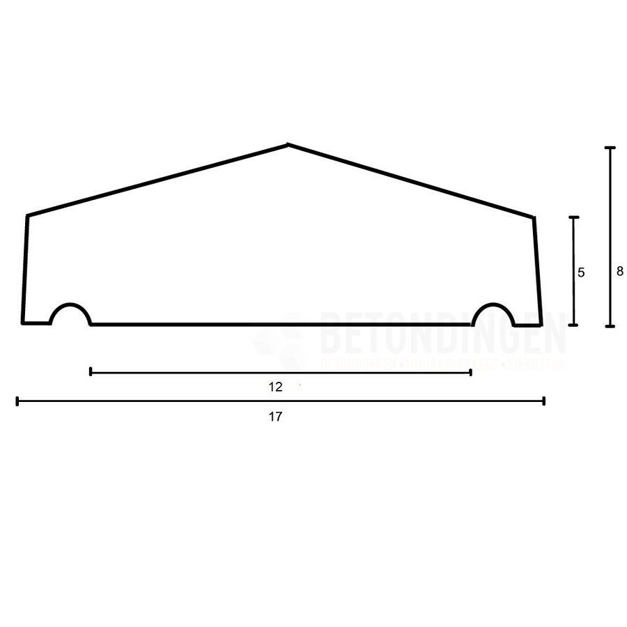 Muurafdekkers 2-zijdig, zwart gecoat 17cm x 100cm