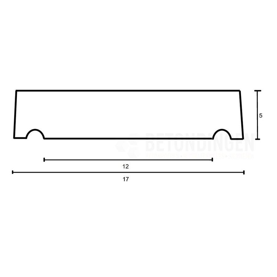 Muurafdekkers vlak, grijs 17x100 cm