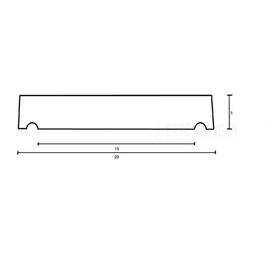 Muurafdekkers vlak, grijs 20 x 100 cm