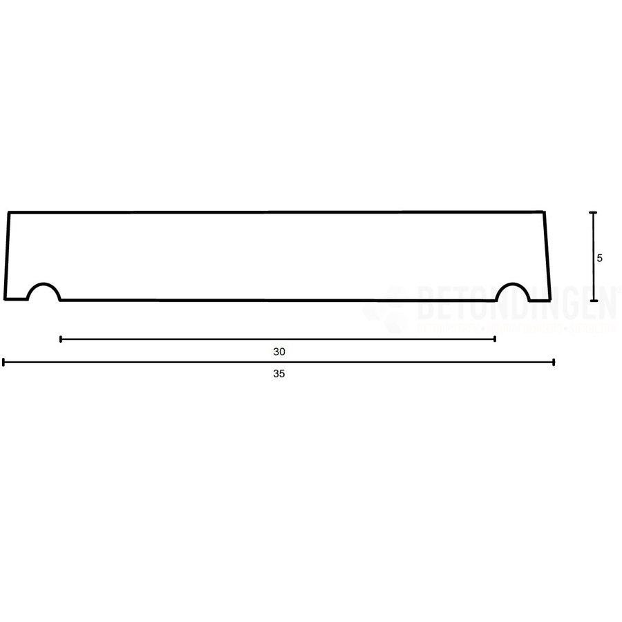 Muurafdekkers vlak, grijs 35x100 cm