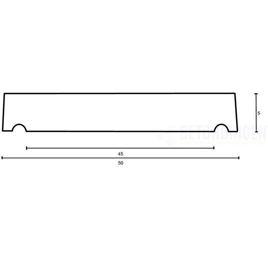 Muurafdekkers vlak, grijs 50x100 cm
