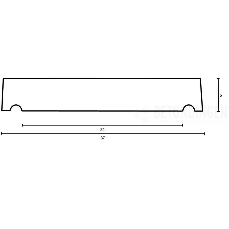 Muurafdekkers vlak, antraciet 37cm x 100cm