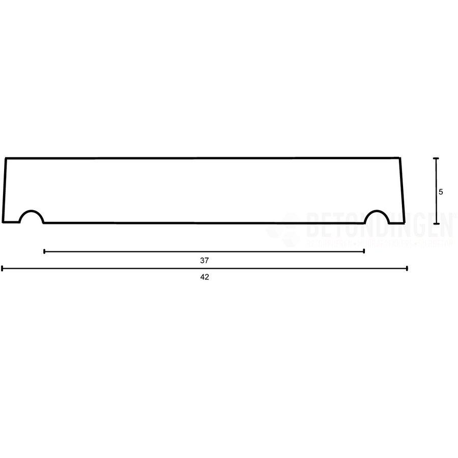 Muurafdekkers vlak, antraciet 42cm x 100cm