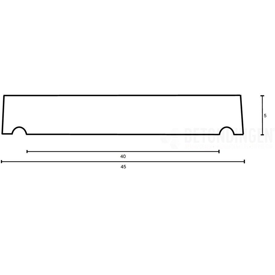 Muurafdekkers vlak, antraciet 45cm x 100cm