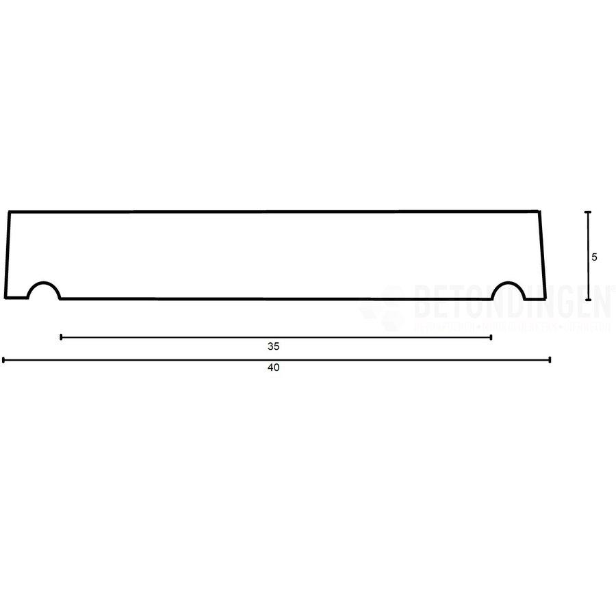 Muurafdekkers vlak, antraciet 40cm x 100cm