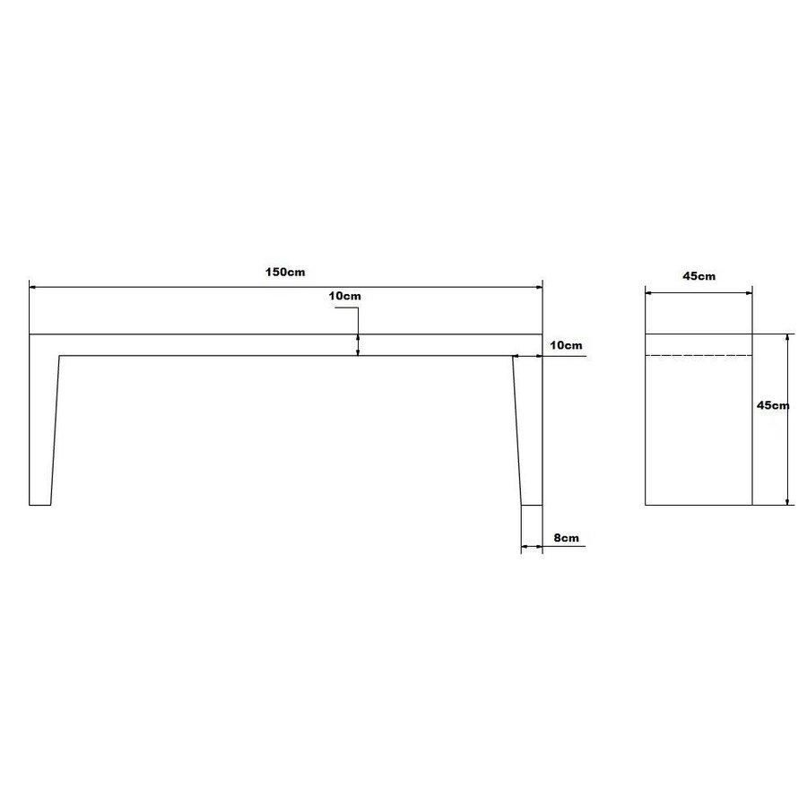 B-keus tuinbank wit grijs 150cm