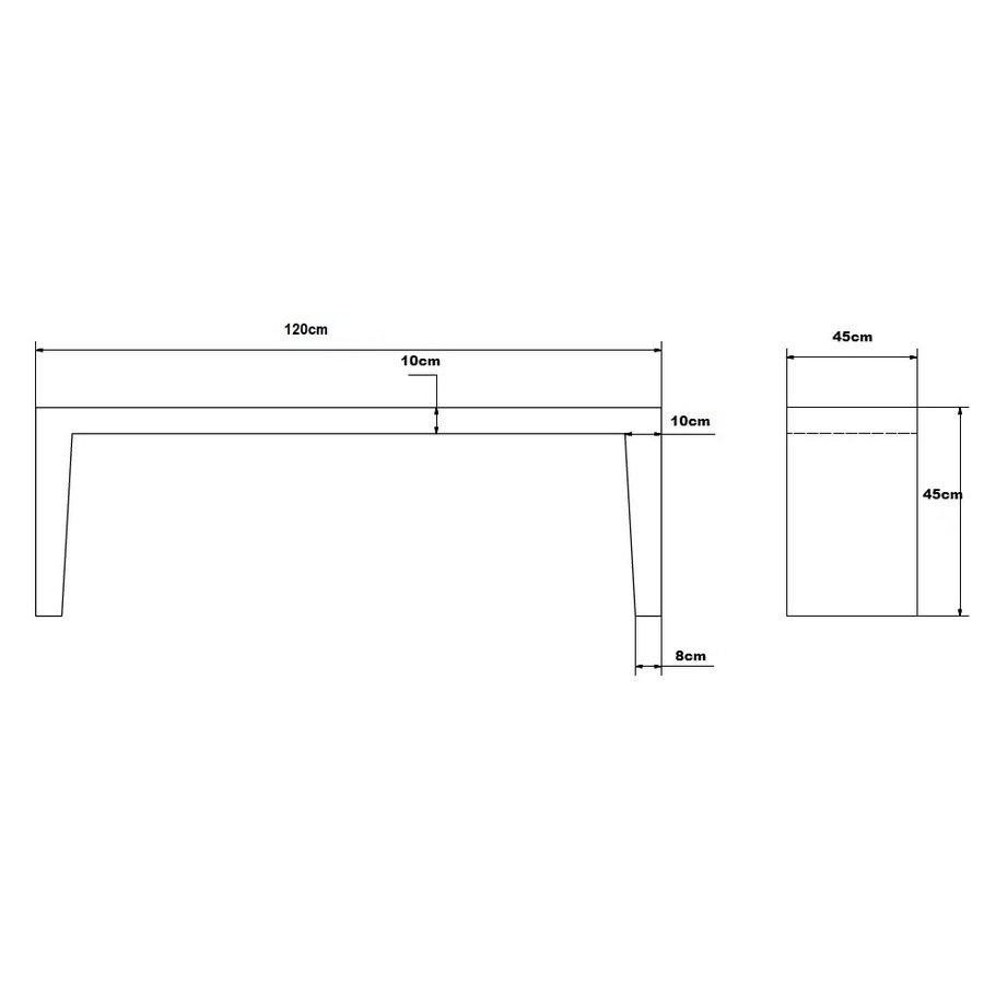Betonnen Tuinbank grijs antraciet 120cm
