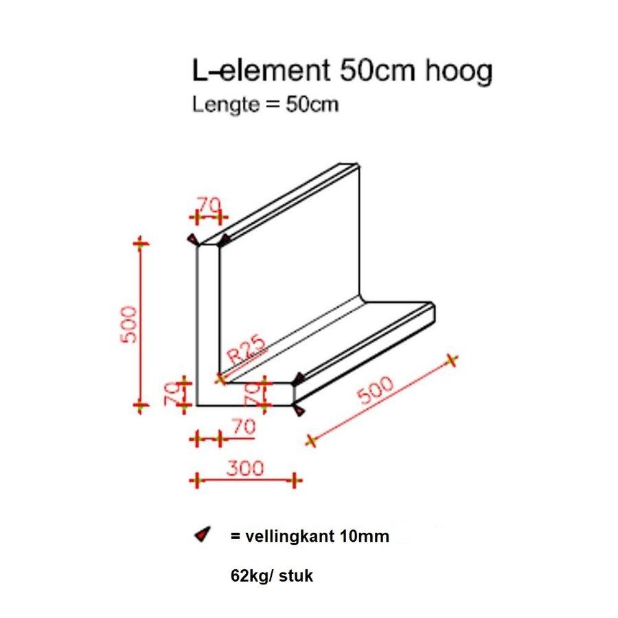 L-elementen antraciet 50 cm hoog, 50 cm breed