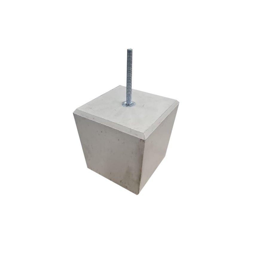 Betonpoer 24x24 en 25 cm hoog grijs M16