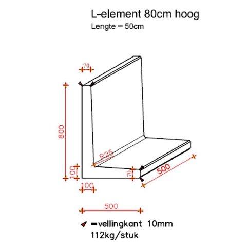 L elementen 80 cm hoog en 50 cm breed antraciet