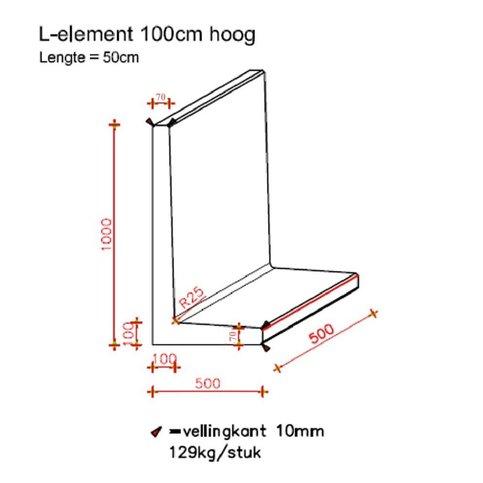 L elementen 100 cm hoog en 50 cm breed grijs