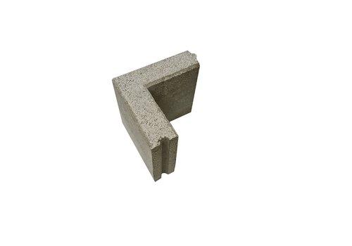 Opsluitband hoekstuk 6x20x20 en 20 cm hoog grijs