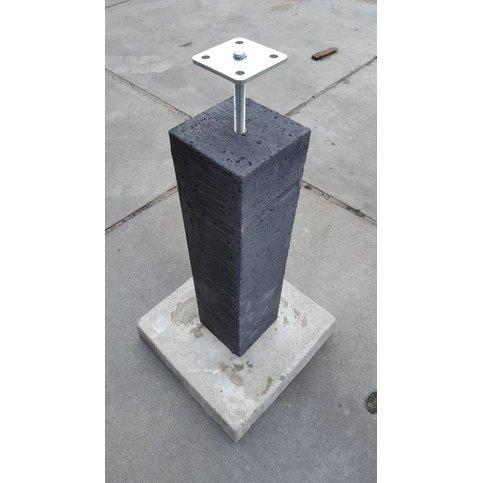 Betonpoer 20x20 en 60 cm hoog antraciet incl. hoogteverstelling