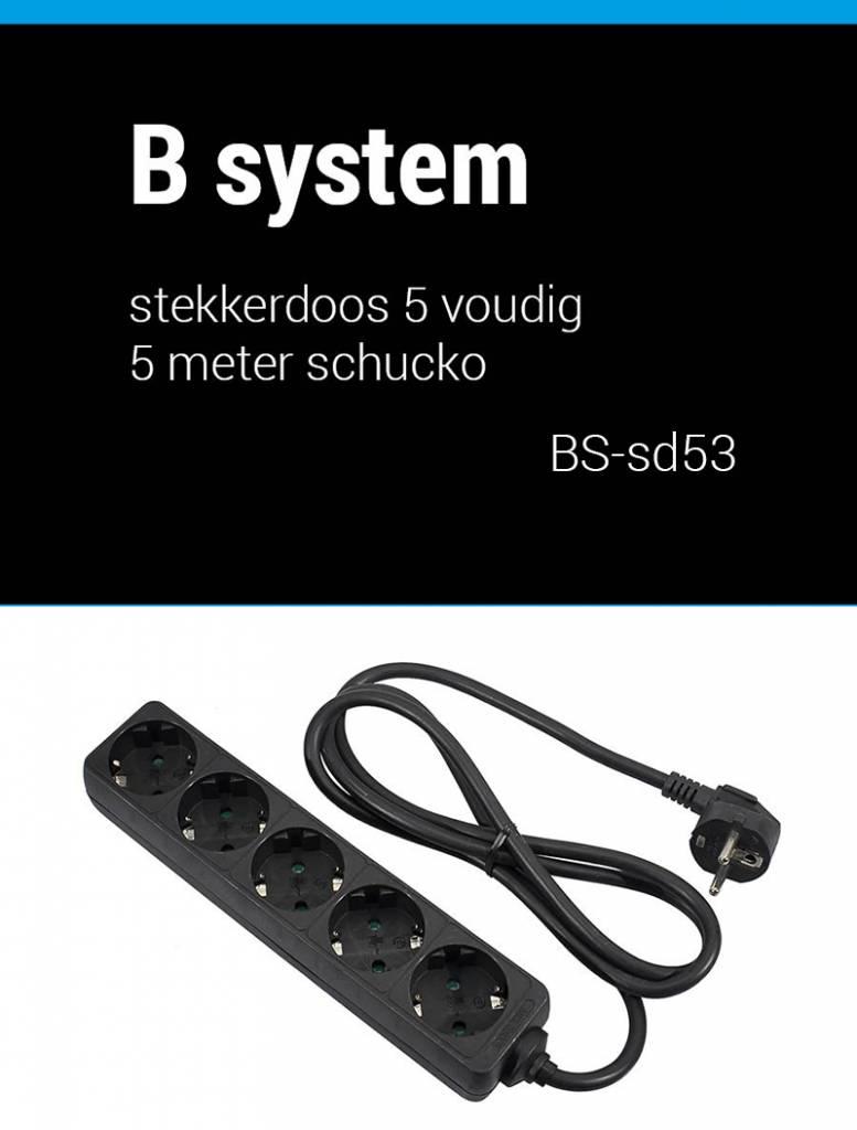 B System B System Stekkerdoos 5 voudig voeding 3 meter BS-SD53
