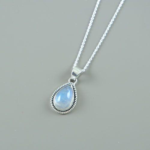 LAVI Sterling Silver Moonstone Drop Necklace