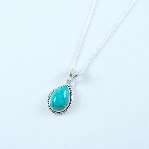 LAVI Turquoise Druppel Collier Echt Zilver