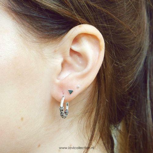 LAVI Silver Mini Triangle Ear Studs