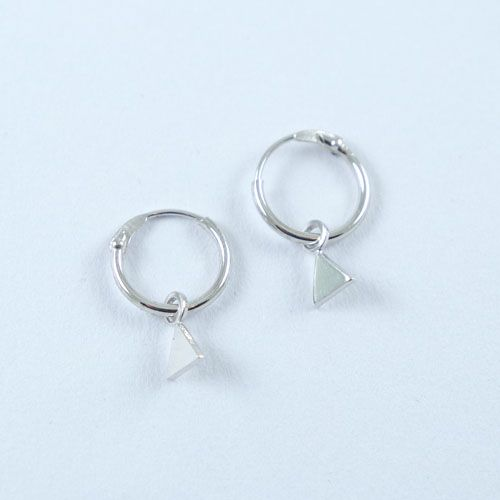 LAVI Silver Hoop Earrings with a Triangle charm