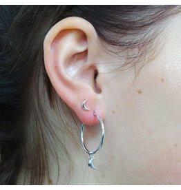 LAVI Silver Hoop Earrings with a Moon charm