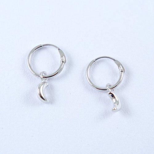 LAVI Silver Hoop Earrings with a Moon charm