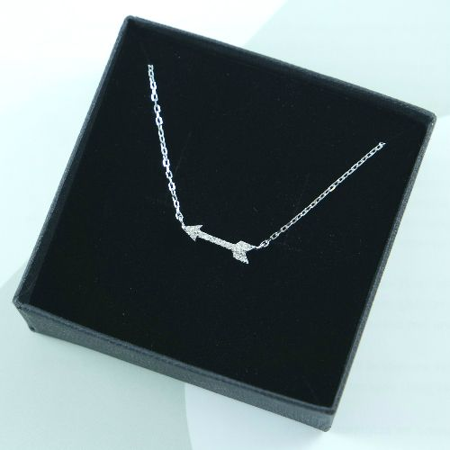 LAVI Sterling Silver Arrow Necklace with Zircon