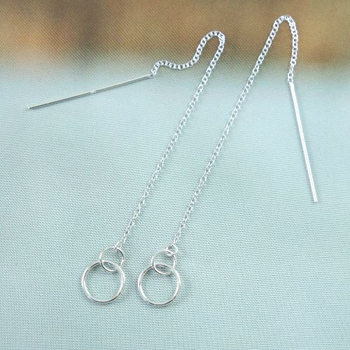LAVI Pull through earrings Silver open circles