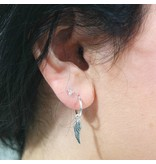 LAVI Silver Hoop Earrings with a charm   - Copy