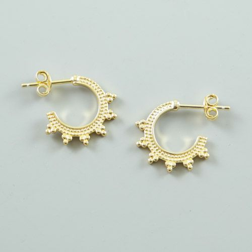 Gold Plated Sterling Silver Bali Hoop Stud Earrings Lavi Collection