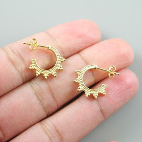 LAVI Gold plated Sterling Silver Bali Hoop Stud Earrings